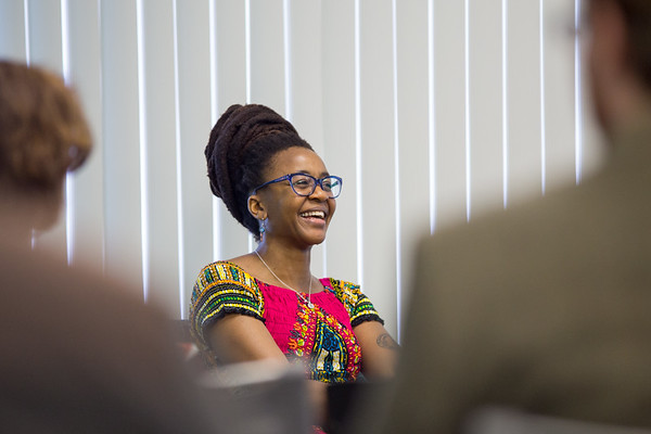 Nnedi Okorafor, award-winning science fiction author and UB faculty member, speaks during a panel for the annual Signature Series <br /> <br /> Photographer: Meredith Forrest Kulwicki