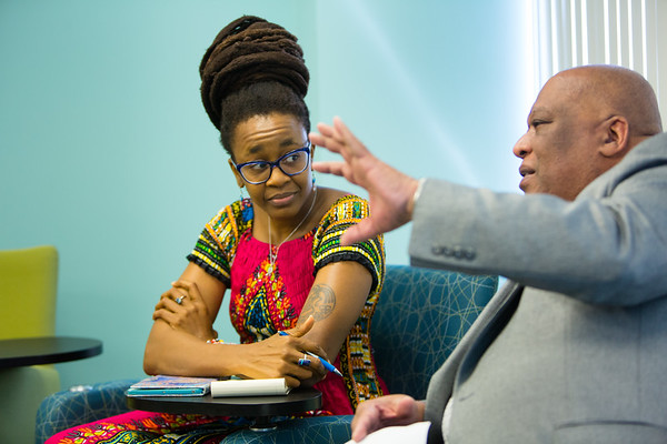 Nnedi Okorafor, Signature Series Small Group Meeting with Krishna Rajan and Cecil Foster, in Clemens Hall<br /> <br /> Photographer: Douglas Levere