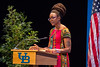 Nnedi Okorafor, award-winning science fiction author and UB faculty member Nnedi Okorafor, speaks during the keynote lecture segment of the Signature Series in Black Box Theatre at Center for the Arts<br /> <br /> Photographer: Meredith Forrest Kulwicki