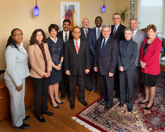 Portrait of the Cabinet Group for the President's Office. Center: Satish Tripathi<br /> Photographer: Douglas Levere