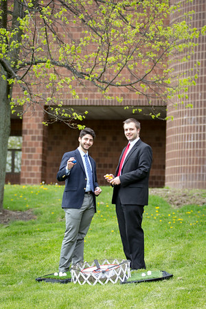 Bernard Cohen (left) and Joe Riciardi (right) stand with their protype for Chip-Down. The pair placed in the the Student Entrepreneur Fellowship Competition (eLab) presented in the Alfiero Center at the School of Management.<br /> <br /> Photographer: Meredith Forrest Kulwicki