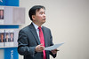Yong Li, Associate Professor of Strategy and Entrepreneurship at the University at Buffalo School of Management speaks before the presentation of awards for the  for the Student Entrepreneur Fellowship Competition (eLab) in the Alfiero Center at the School of Management.<br /> <br /> Photographer: Meredith Forrest Kulwicki