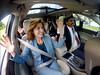 "Lieutenant Governor Kathy Hochul (left) and Prof. Ragunathan ""Raj"" Rajkumar, of Carnegie Mellon University, ride in the driver-less Cadillac SUV developed by Carnegie Mellon University (CMU) on UB's North Campus on June 20, 2017.<br /> <br /> Photographer: Meredith Forrest Kulwicki"