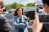 NYS Lt. Gov. Kathy Hochul speaks to the media after a demo ride of the driverless Cadillac SUV developed by Carnegie Mellon University (CMU) on UB's North Campus on June 20, 2017. <br /> <br /> Photographer: Meredith Forrest Kulwicki