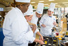 After finishing their entry, members of the UB team (left to right) Amber Southerns, Meghan Moynihan, Bronek Lis and Stephanie Balk sample their dessert again at the SUNY Culinary Summit Competition held on June 22, 2017 in the Goodyear Dining Center.<br /> <br /> Photographer: Meredith Forrest Kulwicki