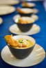 Corn chowder with a fried zucchini blossom is plated by the UB team during the SUNY Culinary Summit Competition held on June 22, 2017 in the Goodyear Dining Center.<br /> <br /> Photographer: Meredith Forrest Kulwicki
