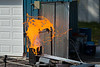 UB's Center for GeoHazards Studies pours lava at a geohazards field station in Ashford, New York.<br /> <br /> Photographer: Douglas Levere