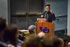 Marcus Yam BS '06, an aerospace engineering grad turned award-winning photographer, speaks at the Student Union Theater. <br /> <br /> Photographer: Douglas Levere