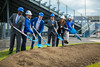 Ground breaking for the UB Fieldhouse. From Left Athletic Director Allen Greene, Brent Murchie, Nevin Murchie, President Satish K. Tripathi, Brittany Acevedo, and Scott Murchie<br /> <br /> Photographer: Douglas Levere
