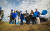 Ground breaking for the UB Fieldhouse. From Left Athletic Director Allen Greene, Brent Murchie, Nevin Murchie, President Satish K. Tripathi, Brittany Acevedo, Scott Murchie<br /> <br /> Photographer: Douglas Levere