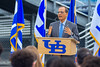 Satish K Tripathi speaks at the ground breaking ceremony for the UB Fieldhouse. <br /> <br /> Photographer: Douglas Levere