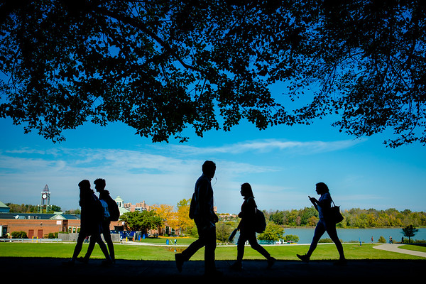 Students on north campus in fall.<br /> <br /> Photographer: Douglas Levere