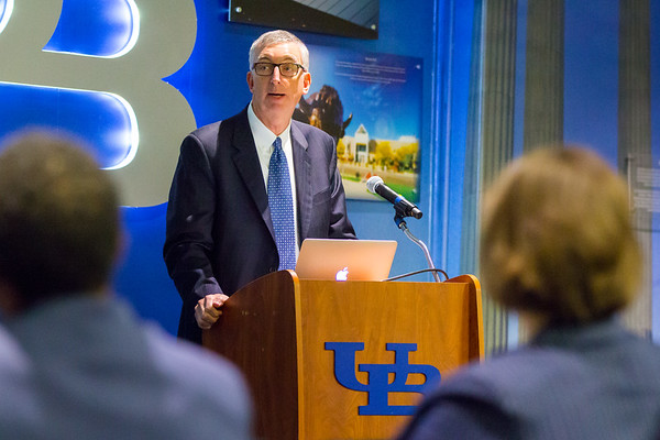 Scott Weber, UB VP of Student Life, speaking at the Prevention Excellence Award for Sexual Violence Prevention Presentation in 210 Student Union.<br /> <br /> Photograph: Douglas Levere