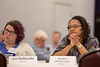 Liz Strellrecht (left) and Glendora Johnson-Cooper listen while University at Buffalo President Satish Tripathi speaks at the Annual Voting Faculty meeting at the Center for Tomorrow on May 9, 2017.<br /> <br /> Photographer: Meredith Forrest Kulwicki