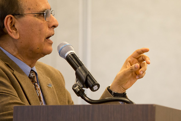 University at Buffalo President Satish Tripathi speaks at the Annual Voting Faculty meeting at the Center for Tomorrow on May 9, 2017.<br /> <br /> Photographer: Meredith Forrest Kulwicki