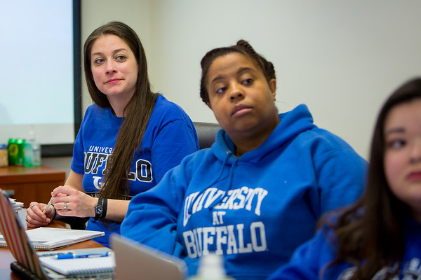 Students, including Suzanne Starr (left) in the Puerto Rico Law School Clinic in O'Brian Hall. <br /> <br /> Photographer: Meredith Forrest Kulwicki