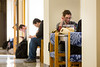 A group of lab tech in biology worked together to gather and repurpose surpluss funiture to create more stident-friendly study space in Hochstetter Hall.<br /> <br /> Photographer: Meredith Forrest Kulwicki