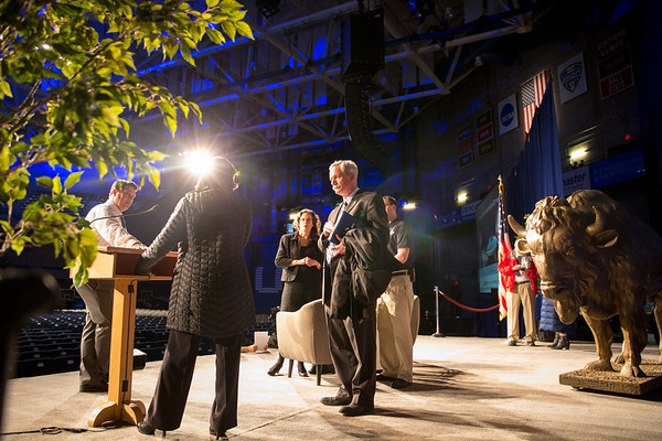 180065 Special Events, distinguished speaker set up, Alumni Arena