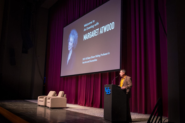 Humanities Institute director David Castillo speaks before Margaret Atwood takes the stage in the Center for the Arts.<br /> <br /> Photographer: Meredith Forrest Kulwicki