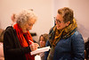 Author Margaret Atwood signs a book for Trish Annese, '90 in English Lit, before speaking on the main stage in the Center for the Arts. <br /> <br /> Photographer: Meredith Forrest Kulwicki