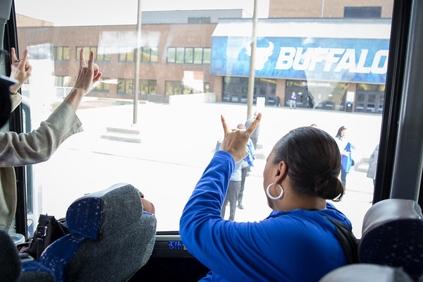 The Women's Basketball team completes a Walk to Victory at Alumni Arena before traveling to Albany for the second round of the NCAA Tournament. Coach Felisha Legette-Jack<br /> <br /> Photographer: Meredith Forrest Kulwicki