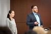 Students present their ideas on how to solve a major global proglem in the finals of the World's Challenge Challenge, hosted by UB Sustainability and Blackstone LaunchPad held in Capen Hall. <br /> Team three: Sunny Clear Water<br /> <br /> Photographer: Meredith Forrest Kulwicki