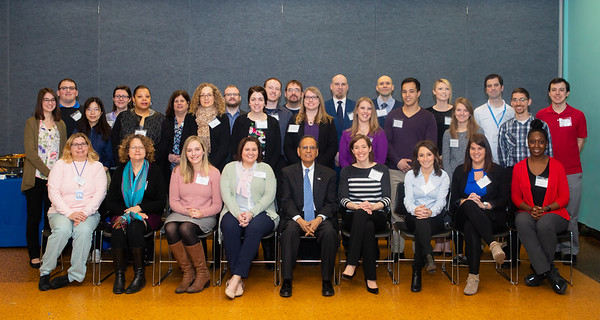 Portrait of new hires with President Satish tripathi at the Professional Staff Senate (PSS) new hire breakfast in the Student Union.<br /> <br /> Photographer: Douglas Levere