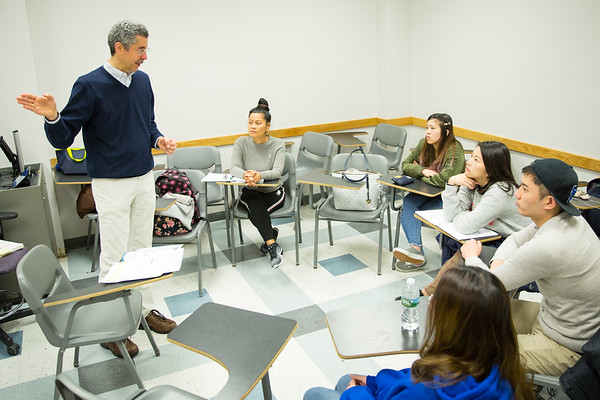 Timothy Cauller, of the English Language Institute teaches a class in Baldy Hall.<br /> <br /> Photographer: Meredith Forrest Kulwicki