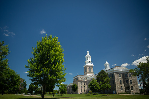 180217 Hayes Hall, campus landscape, summer