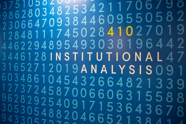 180224 University Communications, brand example, Institutional Analysis wall, Crofts Hall
