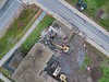 Aerial photos of crews taking down Pritchard Hall on South Campus.<br /> <br /> Photographer: Mark Adams