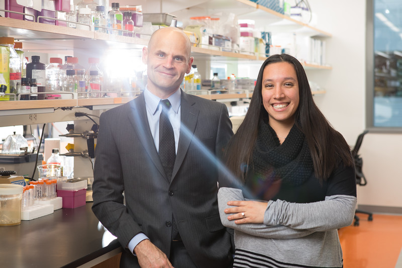 Pharmacology and Toxicology Chair David Dietz and PhD student Jennifer Martin at the Medical School Building<br /> <br /> Photographer: Douglas Levere