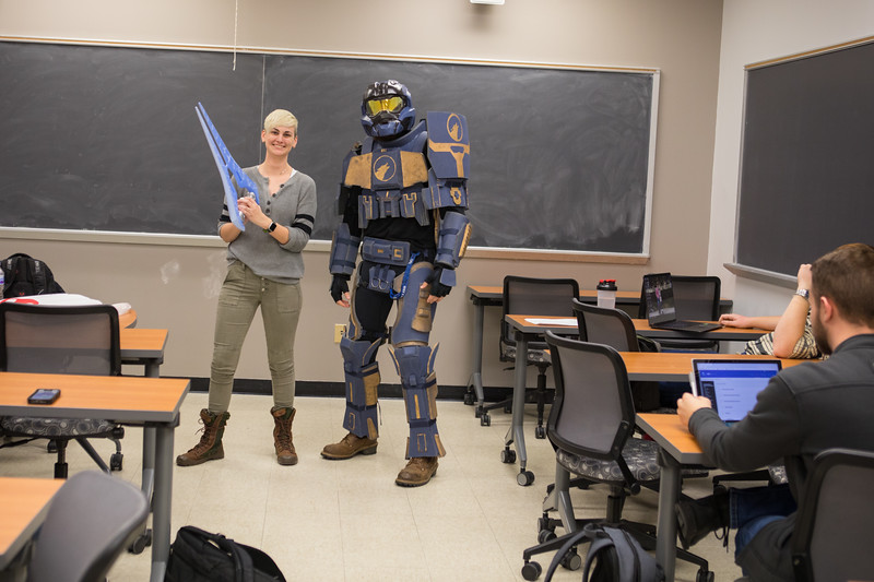 Engineering students in a classroom in Norton Hall with Stephanie Phillips.<br />  <br /> Photographer: Douglas Levere