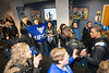 The UB community cheers on the Bulls football team as it left for Detroit for the MAC Championship game in the Walk to Victory. <br /> <br /> Photographer: Douglas Levere