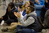 Fans attend the watch party in the Student Union for the UB Bulls in the MAC Championship game on Friday, Nov. 30, 2018.<br /> <br /> Photographer: Meredith Forrest Kulwicki<br /> <br /> Left: Matthew  helou, junior - glasses hoops shirt<br /> Right: Ali khan sophomore