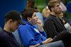 Fans attend the watch party in the Student Union for the UB Bulls in the MAC Championship game on Friday, Nov. 30, 2018.<br /> <br /> Photographer: Meredith Forrest Kulwicki<br /> <br /> Freshman Connor Curtin (center)