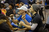 Fans attend the watch party in the Student Union for the UB Bulls in the MAC Championship game on Friday, Nov. 30, 2018.<br /> <br /> Photographer: Meredith Forrest Kulwicki<br /> <br /> Left: Tim McMahon soph white hat<br /> Right: Jeffery rashko soph gray hat