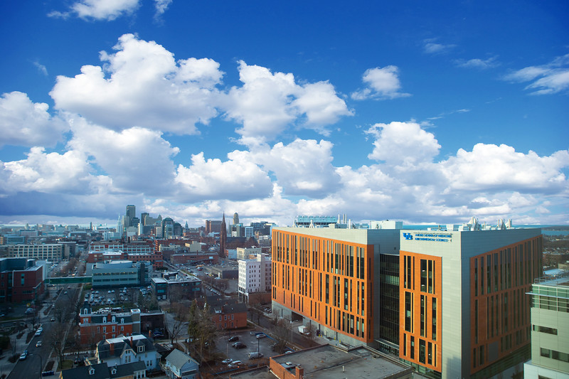 Medical School Building and downtown Buffalo photographed from Oishei Children's Hospital of Buffalo in December 2019.<br /> <br /> Photographer: Douglas Levere