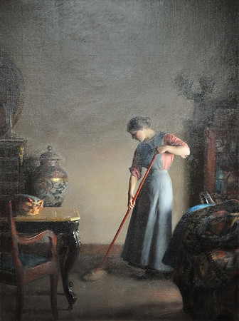 """Girl Sweeping"" (1912), by William McGregor Paxton"
