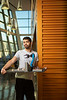 Arody Deleon, a senior majoring in computer science and engineering, photographed with the robotic arm he developed to play tic-tac-toe in Davis Hall in 2019.<br /> <br /> Photographer: Douglas Levere