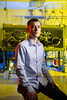 David Lacy, assistant professor in the Department of Chemistry, and his team make and study catalysts, chemical compounds that speed up the rate of important chemical reactions that happen everywhere from inside the human body to inside the walls of factories. Photographed June 2019 in a research lab in the Natural Sciences Complex.<br /> <br /> Photographer: Douglas Levere