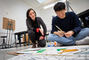 Students work on their painting in Becky Brown's class in the Center for the Arts in November 2019.<br /> <br /> Photographer: Meredith Forrest Kulwicki