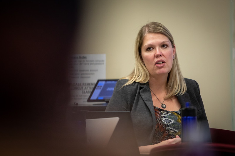 Amanda Winkelsas, the director of UB's Teacher Residency Program, leads a seminar class in Baldy Hall in November 2019. Offered through the Graduate School of Education, the residency program has 12 teacher residents working full time for the entire school year alongside veteran teachers.<br /> <br /> Photographer: Meredith Forrest Kulwicki