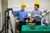 A team in mechanical engineering recently received an NSF Grant for their project involving on a human-robot collaboration for the disassembly of electronic waste such as hard disk drives. The team is lead by Minghui Zheng, Sara Behdad and Xiao Liang, and includes a number of students. They were photographed in November 2019 in Jarvis Hall.<br /> <br /> Photographer: Douglas Levere