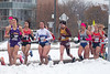 The UB cross country teams hosted the 2019 NCAA Northeast Cross Country Regionals in November 2019. Due to weather, the race was moved from the Audubon Golf Course to a route through North Campus. The teams are photographed running by Greiner Hall along John James Audubon Parkway. <br /> <br /> Photographer: Meredith Forrest Kulwicki