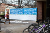 Branded messaging for construction site signage comes from a recent collaboration with Facilities outside Capen Hall.<br /> <br /> Photographer: Douglas Levere