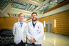 Second-year medical students Cullan Donnelly (left) and Ryan Elnicki are teaming with the Buffalo Bills to raise money for the Muscular Dystrophy Association of Western New York. Portrait of the pair at the Medical School Building in November 2019.<br /> <br /> Photographer: Douglas Levere