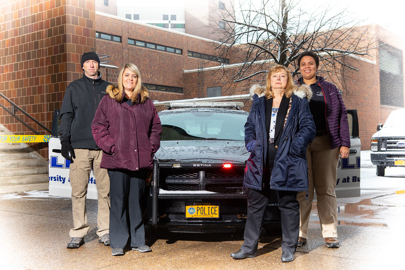 From left: Investigator DJ Rehberg, Dispatcher Kristen Herr, Investigator Therese Banas and Dispatcher Alaina Reid were among six members of University Police who were recognized by the SUNY Chiefs Association with 2019 Professional Service Awards for their commitment to public safety. <br /> <br /> Photographer: Douglas Levere