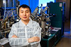 UB physics PhD students Xiucheng Wei is one of the first authors of a new study that reports on the creation of barium zirconium sulfide thin films. The research was led by UB physics professor Hao Zeng. <br /> <br /> Photographer: Douglas Levere