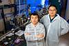 UB physics PhD students Xiucheng Wei (left) and Haolei Hui were the first authors of a new study that reports on the creation of barium zirconium sulfide thin films. The research was led by UB physics professor Hao Zeng. <br /> <br /> Photographer: Douglas Levere